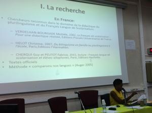 Intervention de Melissa Marcin sur la place de la didactique du plurilinguisme (cas d'étude en Martinique)